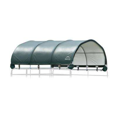 144 sq. ft. Corral Shelter - Galvanized 1 - 5/8 in. Steel Frame, 14.5 oz. Green PVC Cover