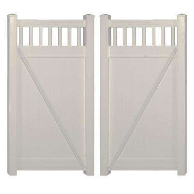 Mason 7.4 ft. W x 6 ft. H Tan Vinyl Privacy Double Fence Gate