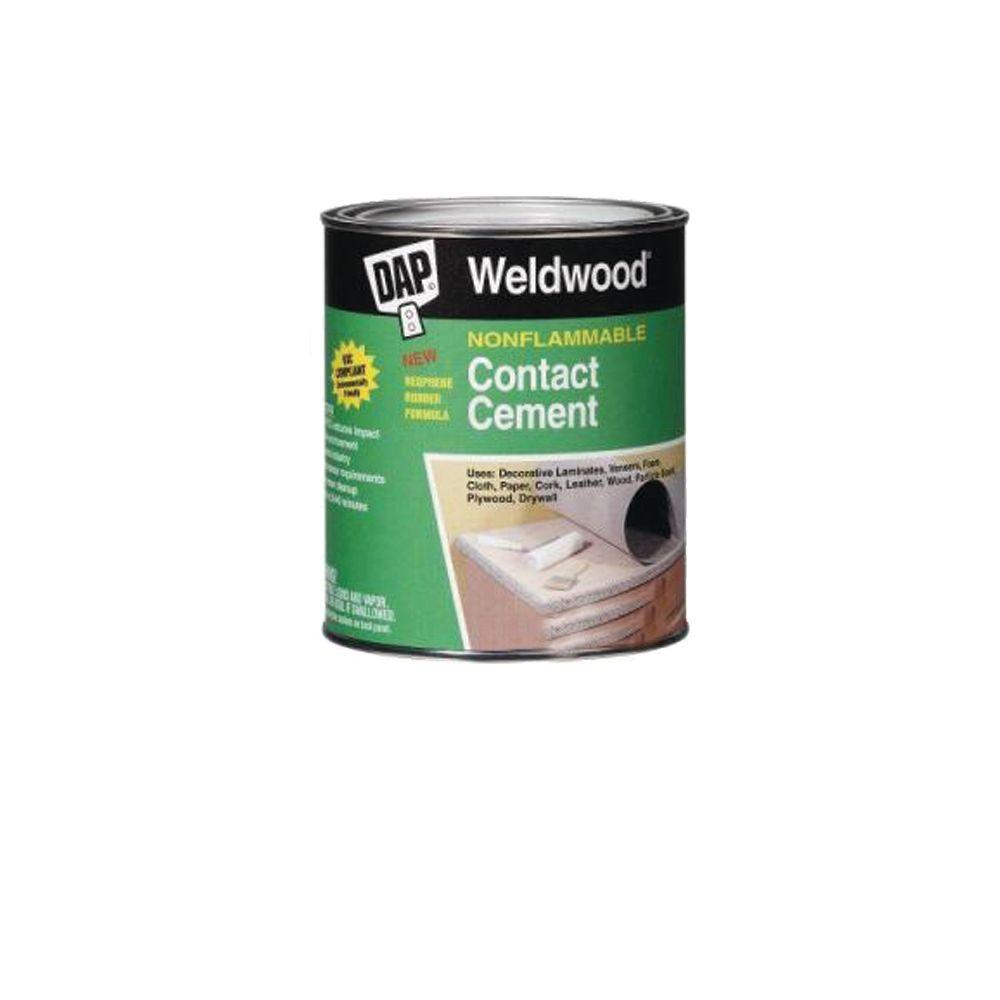 DAP Weldwood 1 Gal. Non-Flamable Contact Cement DAP weldwood 128 fl. oz. nonflammable contact cement forms a permanent, water- and heat-resistant bond on a variety of surfaces. This cement is perfect for indoor or outdoor projects.