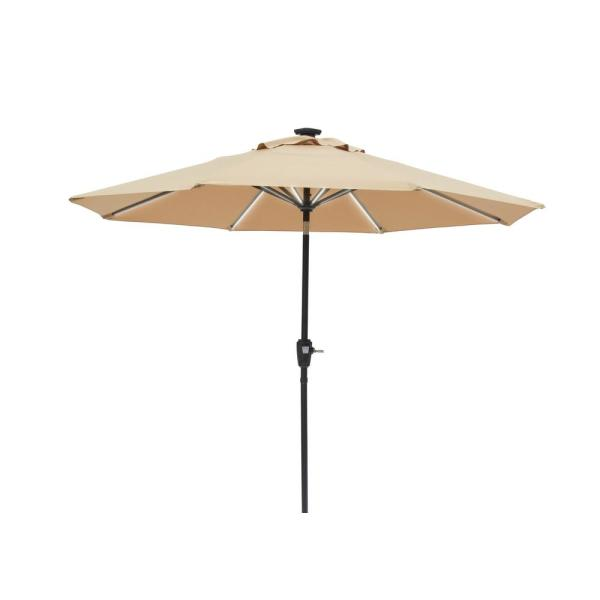 Sun Ray 9 Ft Round Next Gen Solar Lighted Market Patio Umbrella In Taupe 841029 The Home Depot
