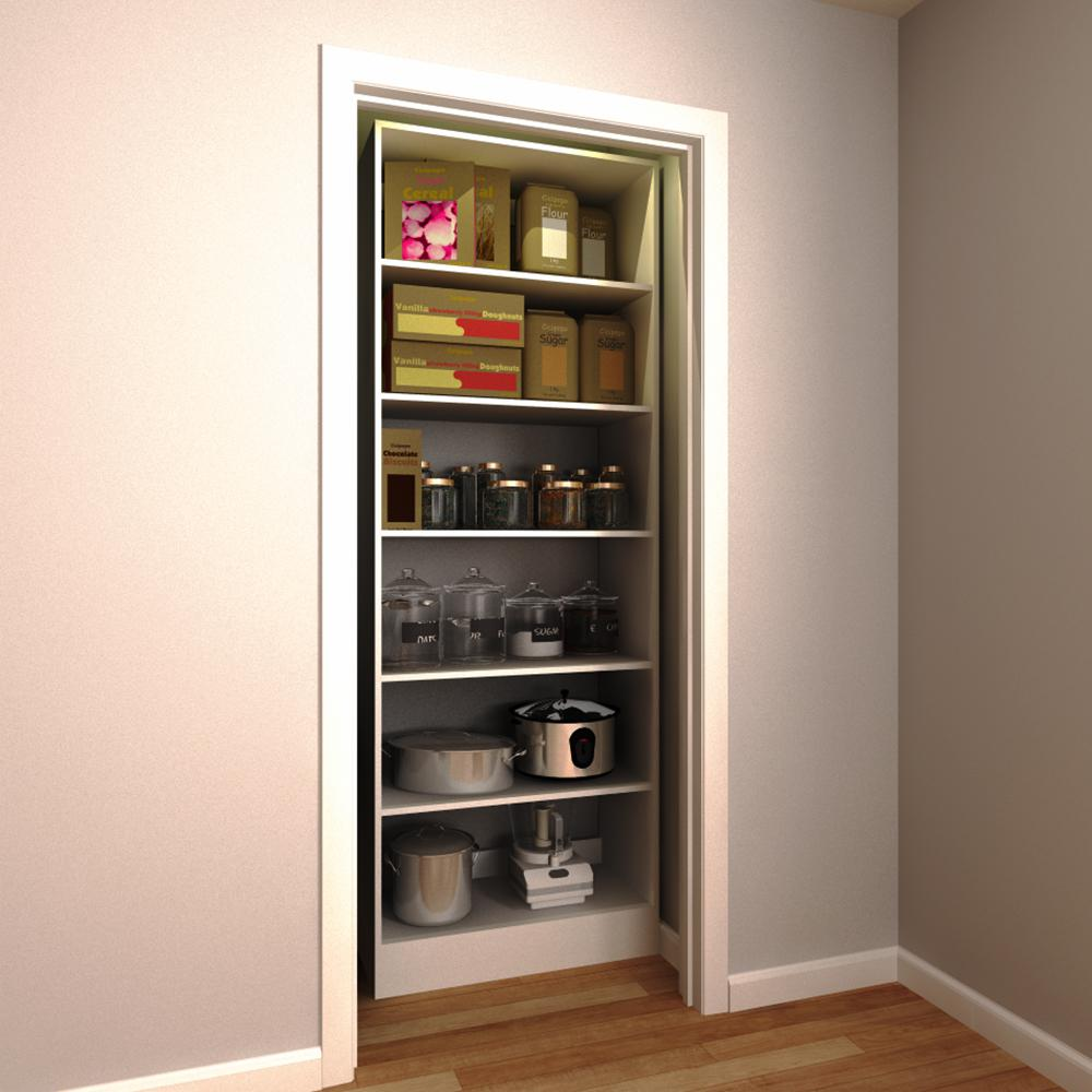 30 in. W x 15 in. D x 84 in. H White Wood Pantry Organize...