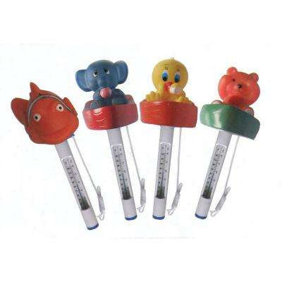 Floating Animal Swimming Pool Thermometers with Cords (Set of 4)