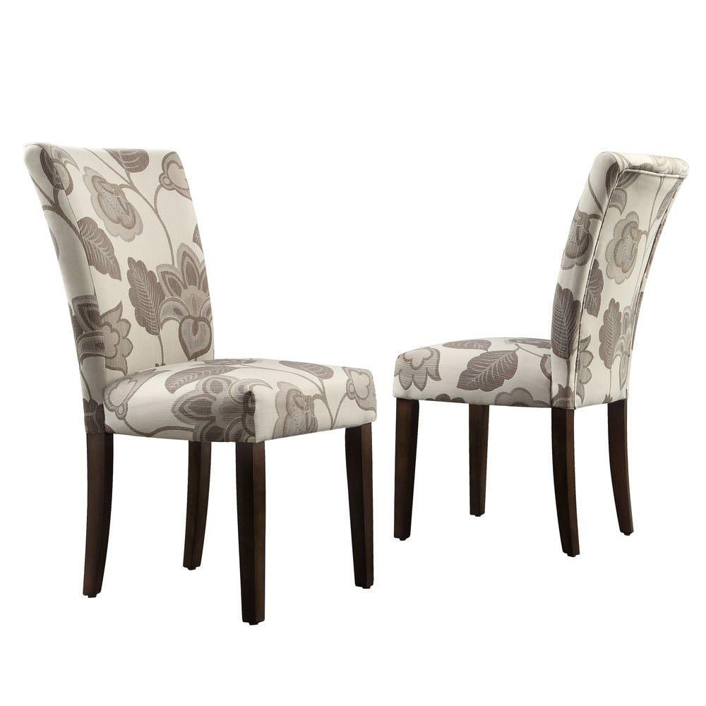 HomeSullivan Whitmire Parson Fabric Dining Chair in Grey Floral (Set of 2)
