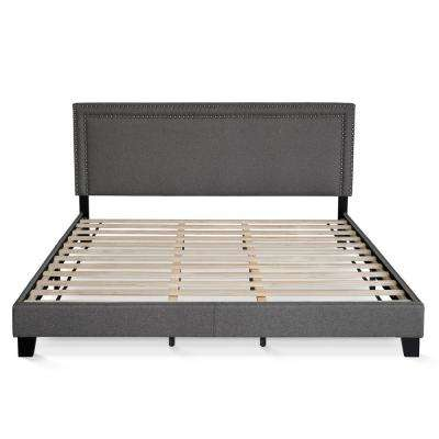 Laval Stone King Double Row Nail Head Bed Frame
