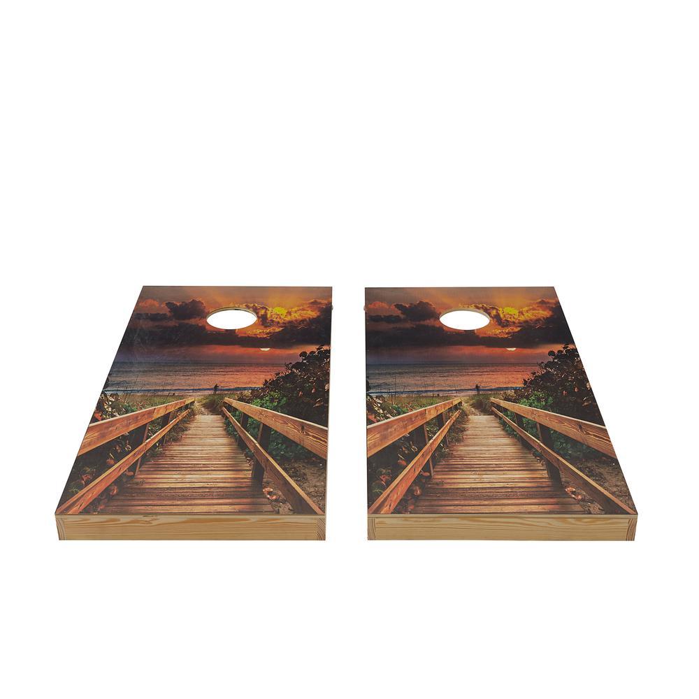 Beach Sunset Wood Cornhole Set