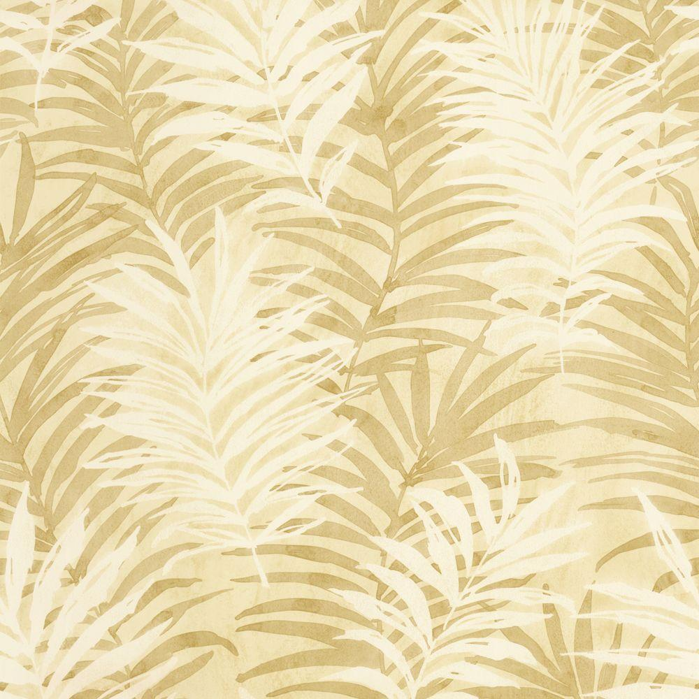 The Wallpaper Company 8 in. x 10 in. Beige Tropical Leaves Wallpaper Sample