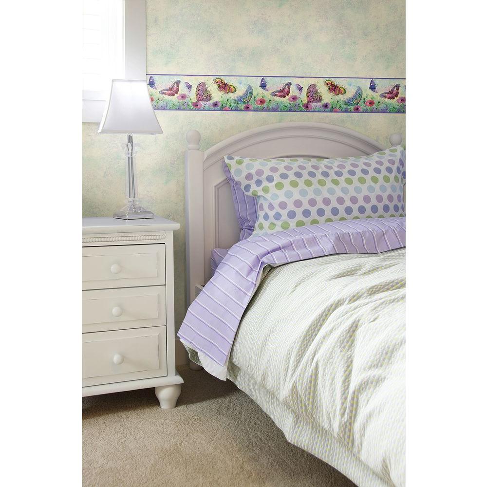 Ava Purple Butterfly Swoosh Purple Wallpaper Border Sample