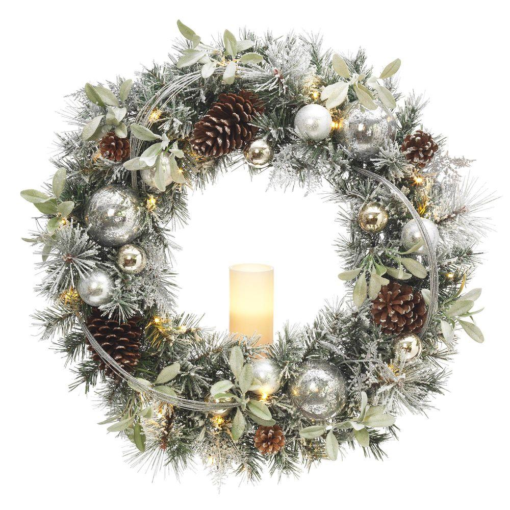30 in. Battery Operated Snowy Silver Pine Artificial Wreath with 30