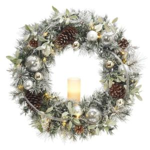30 in. Battery Operated Snowy Silver Pine Artificial Wreath with 30 Clear LED Lights and LED Candle