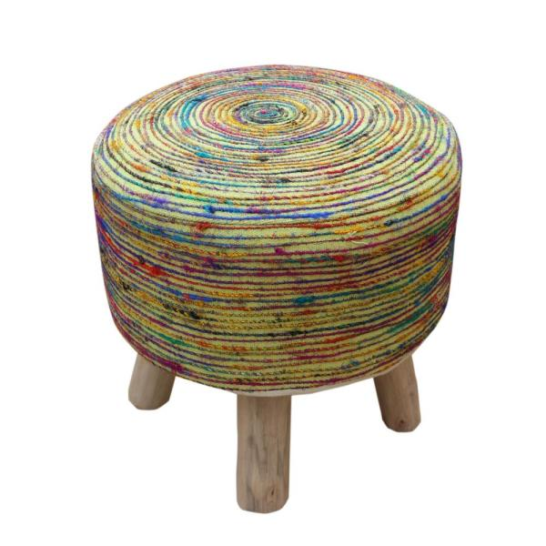 Birken 16 in. Multi-Colored Silk Stool
