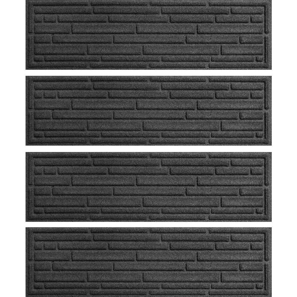 Charcoal 8.5 in. x 30 in. Broken Brick Stair Tread (Set of 4)