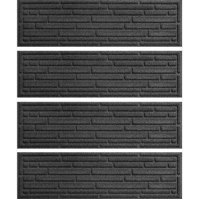 Charcoal 8.5 in. x 30 in. Broken Brick Stair Tread Cover (Set of 4)