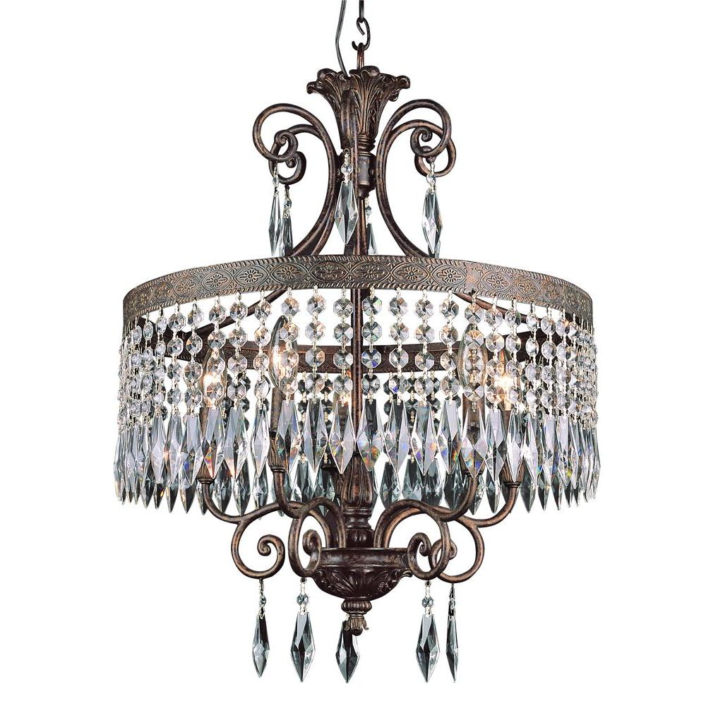 Bel Air Lighting Cabernet Collection 5-Light Patina Bronze Chandelier with Clear Crystal Prisms
