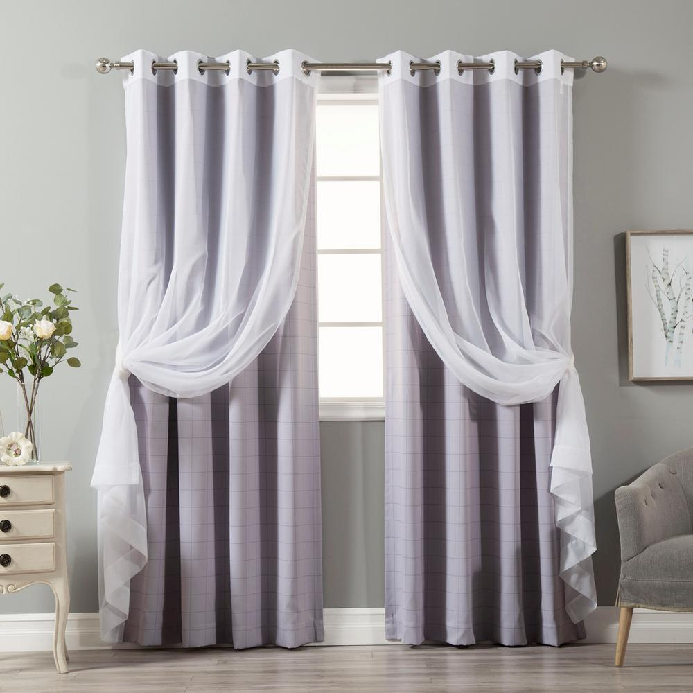 best home fashion 84 in l umixm tulle and lilac checkered room darkening curtain 4 pack mm. Black Bedroom Furniture Sets. Home Design Ideas