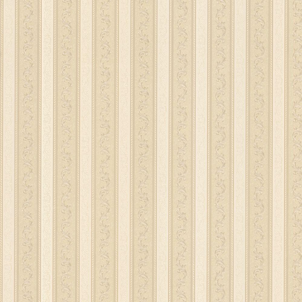 Kendra Beige Scrolling Stripe Wallpaper