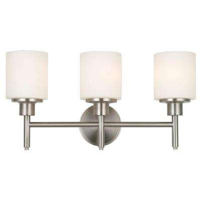 Aubrey 3-Light Brushed Nickel Vanity Light