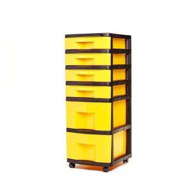 6 Drawer Storage Cart in Black and Yellow (2-Pack)
