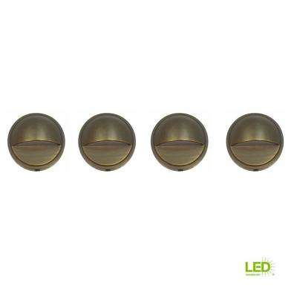 2-Watt Brass Outdoor Integrated LED 2700K White Warm Landscape Deck Light (4-Pack)