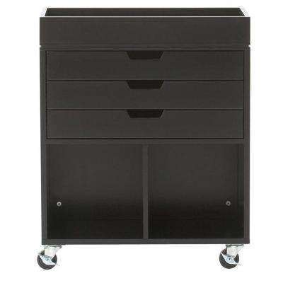 Avery 25 in. W 3-Drawer MDF Wrapping Mobile Cart in Black