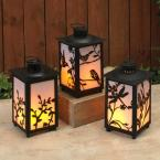 undefined Black Battery Operated Plastic FireGlow Lanterns with Timer Feature (Set of 3)