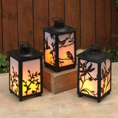 Black Battery Operated Plastic FireGlow Lanterns with Timer Feature (Set of 3)