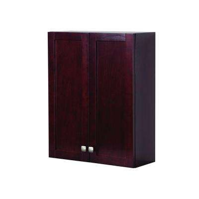 Sydney 22 in. W x 28 in. H x 7-5/8 in. D Over the Toilet Bathroom Storage Wall Cabinet in Dark Cherry