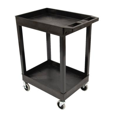 SEC 2-Shelf Plastic Utility Cart in Black