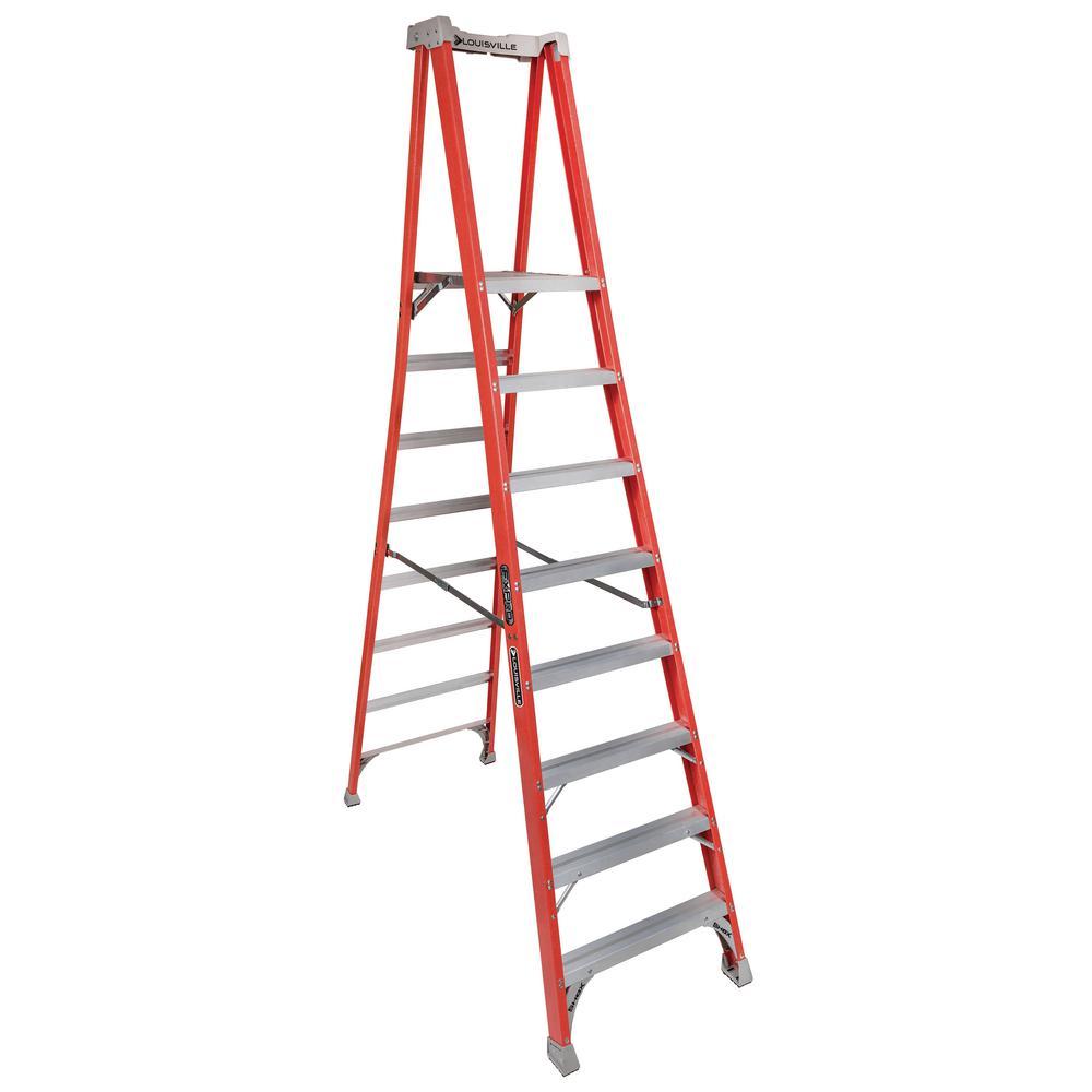 Louisville Ladder 8 Ft Fiberglass Pinnacle Platform Ladder With 300 Lbs Load