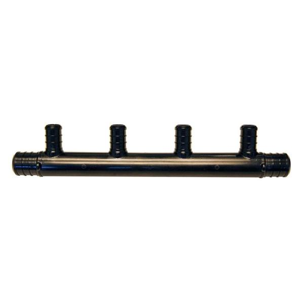 3/4 in. Barb Inlets x 1/2 in. Barb 4-Port PEX Open Plastic Manifold