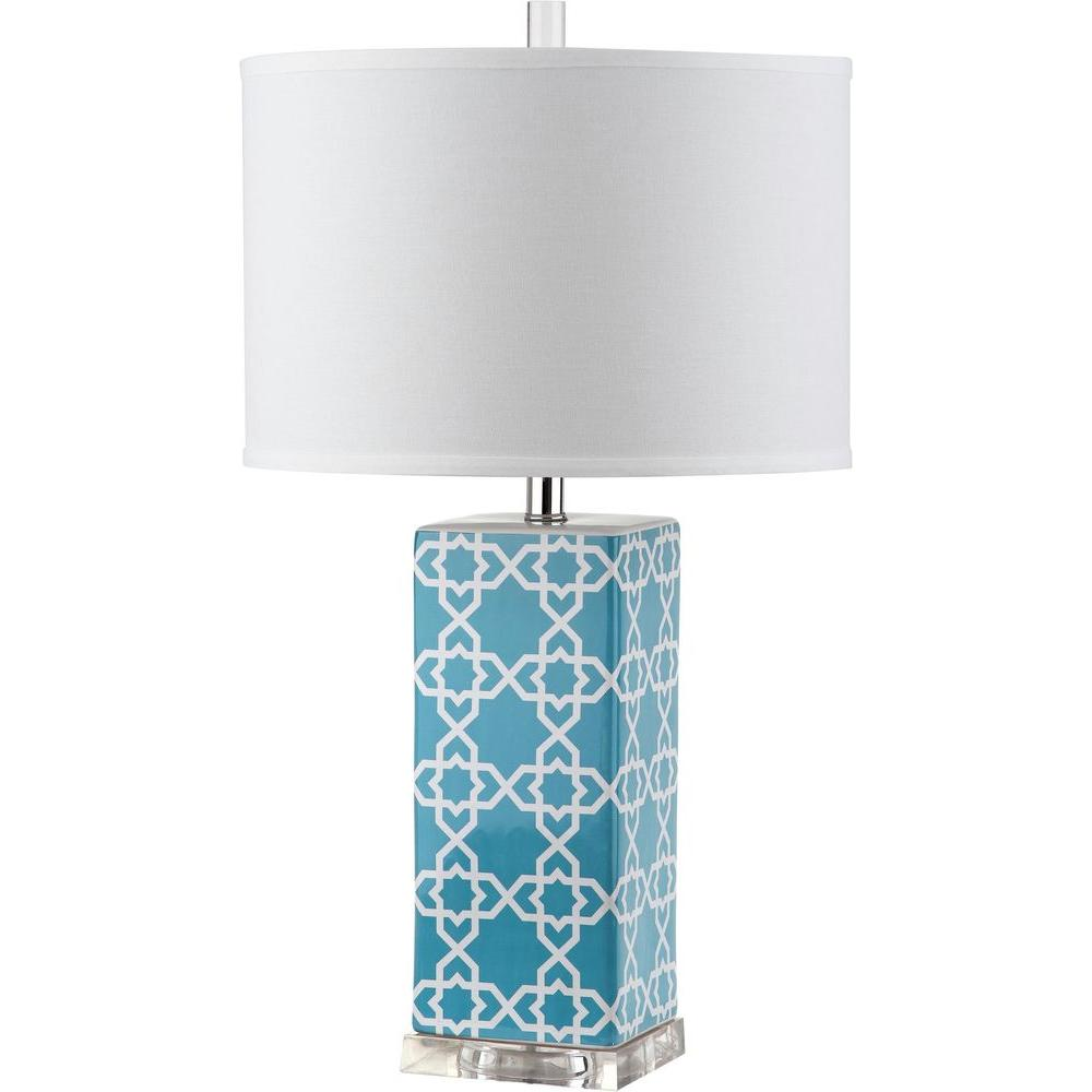 Quatrefoil 27 in. Light Blue Table Lamp with White Shade