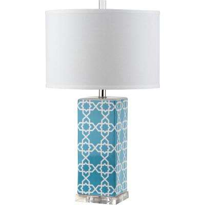 Blue table lamps lamps the home depot quatrefoil 27 in light blue table lamp with white shade aloadofball Choice Image