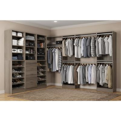Calabria Walk In 15 in. D x 243 in. W x 84 in. H Platinum Wood Closet System
