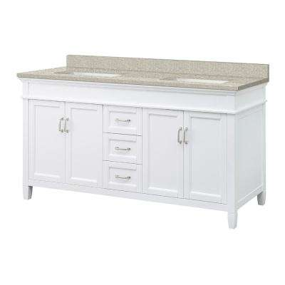 Ashburn 61 in. W x 22 in. D Vanity in White with Engineered Vanity Top in Sedona with White Sink