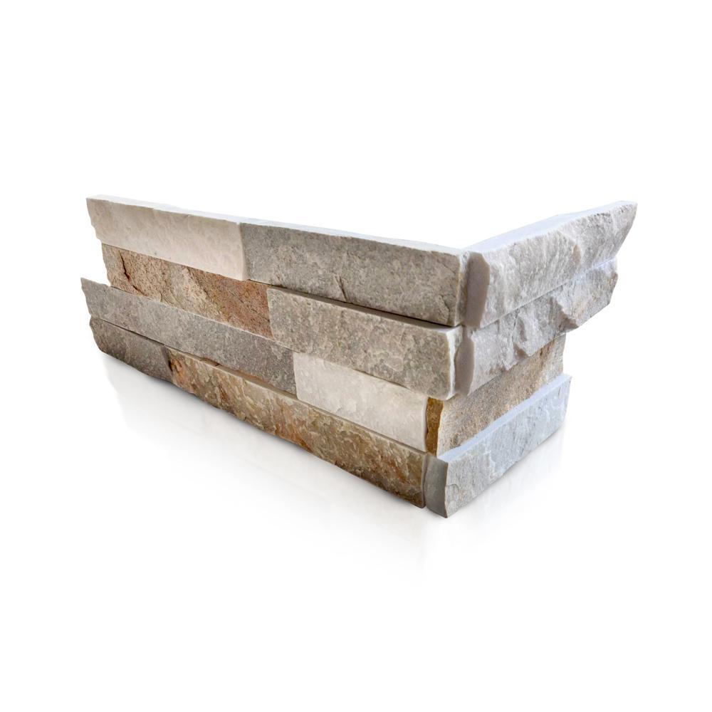 Golden Honey 6 x 16 x 8 in. Natural Stacked Stone Veneer Corner Siding Exterior/Interior  Wall Tile (10-Box/64.17 sq ft)