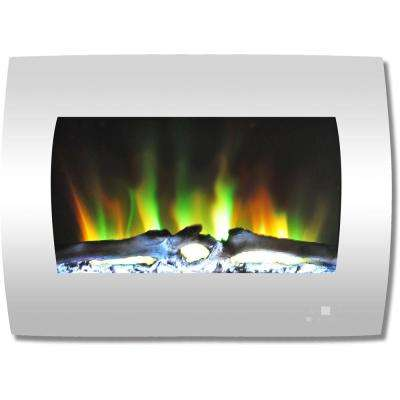 26 in. Curved Wall-Mount Electric Fireplace in White with Multi-Color Flames and Log Display