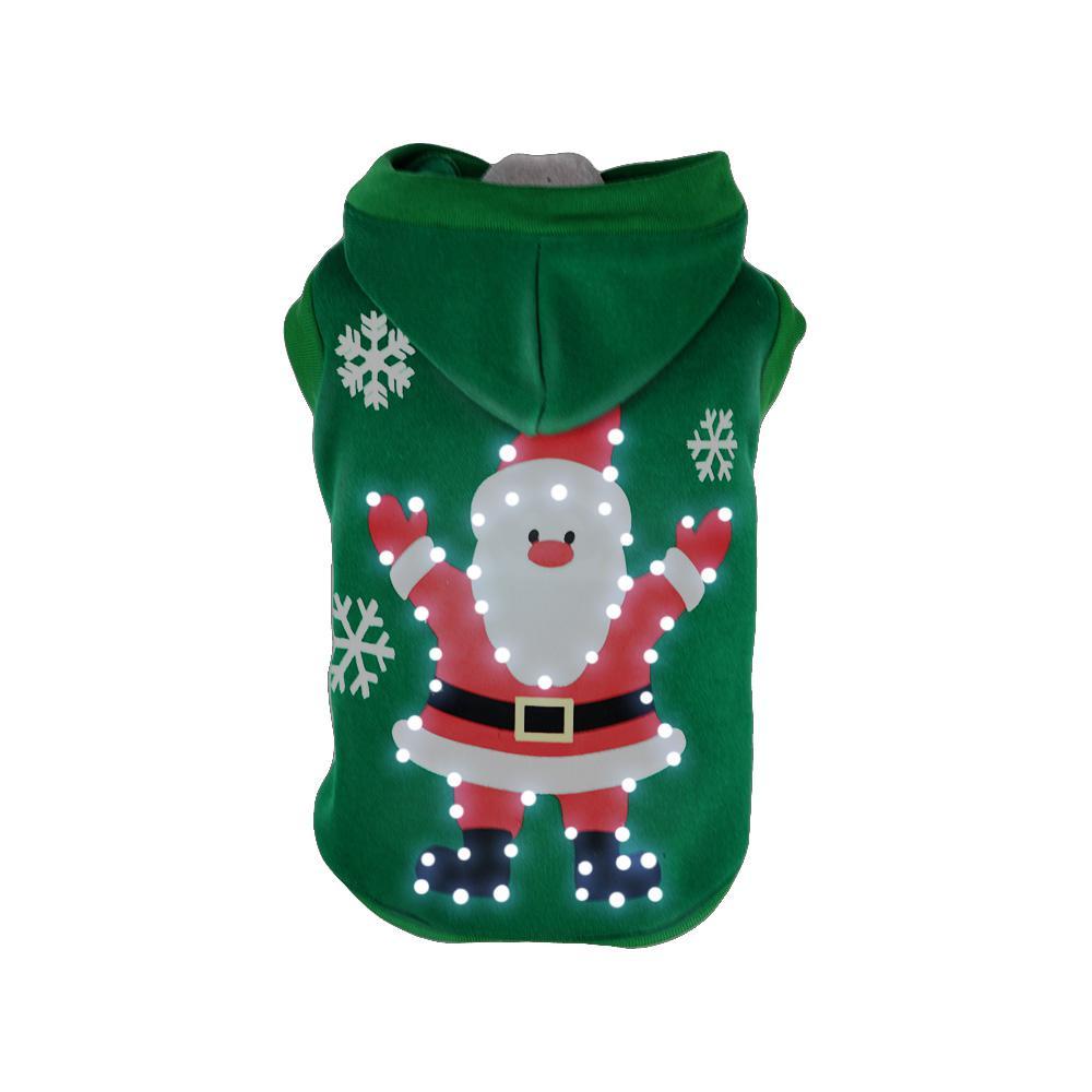 X-Small Green LED Lighting Hands-Up-Santa Sweater Pet Hoodie