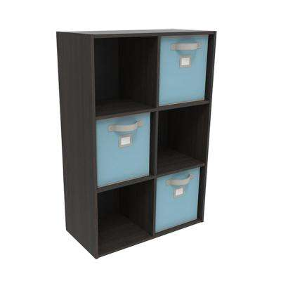 36 in. x 24 in. Espresso Stackable 6-Cube Organizer with 3 Light Blue Bins