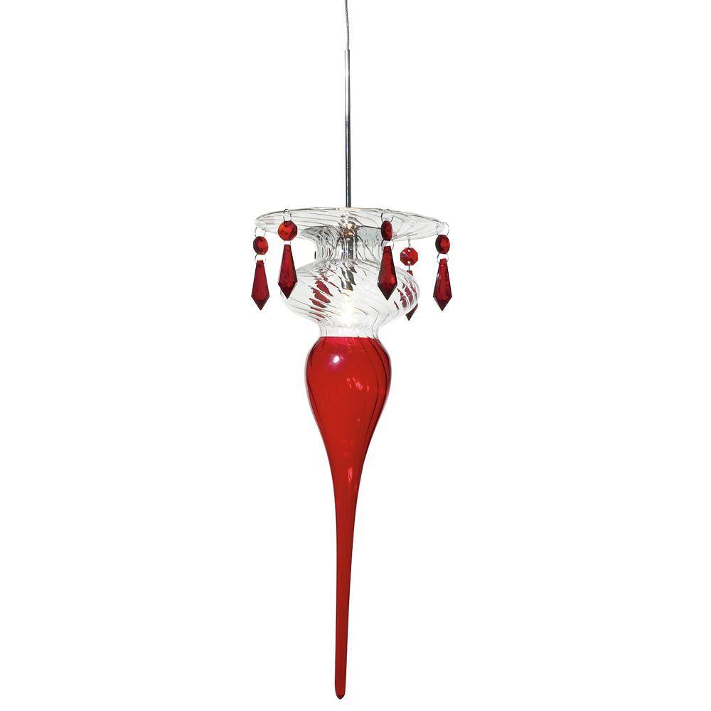 PLC Lighting 1-Light Mini-Drop Pendant Polished Chrome Finish Red Glass
