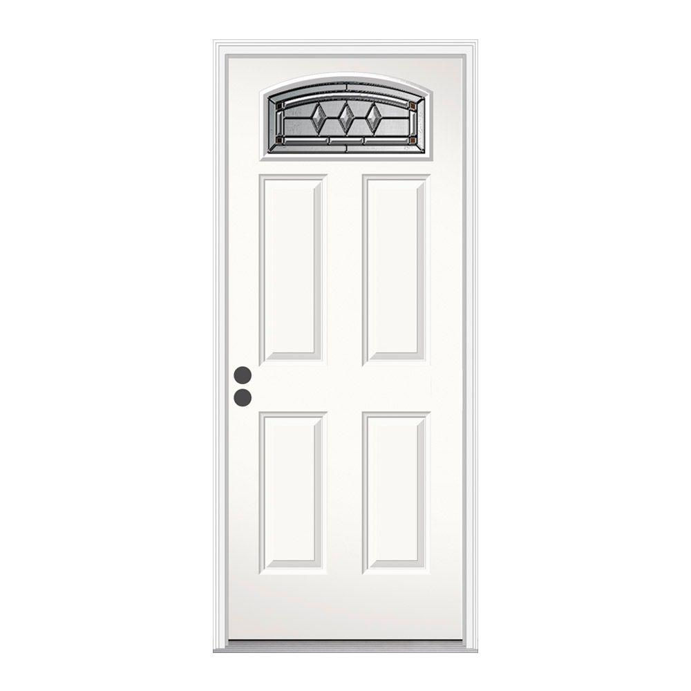 JELD-WEN 36 in. x 80 in. Camber Top Mission Prairie Primed Steel Prehung Right-Hand Inswing Front Door w/ Brickmould