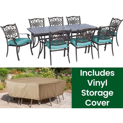 Traditions Bronze Aluminum 9-Piece Outdoor Patio Dining Set with Protective Cover and Blue Cushions included