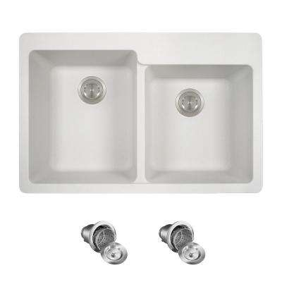 All-in-One Drop-in Granite Composite 33 in. 4-Hole Offset Double Bowl Kitchen Sink in White