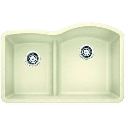 Diamond Undermount Granite Composite 32 in. 0-Hole Reverse with Low-Divide Double Bowl Kitchen Sink in Biscuit