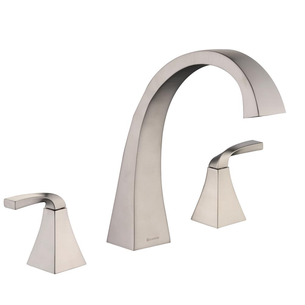 Glacier Bay Leary Curve 2-Handle Deck-Mount Roman Tub Faucet in Brushed Nickel