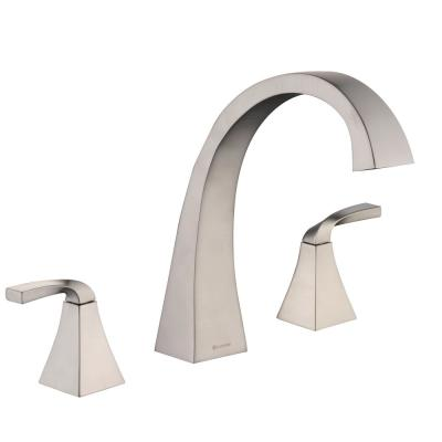 Leary Curve 2-Handle Deck-Mount Roman Tub Faucet in Brushed Nickel