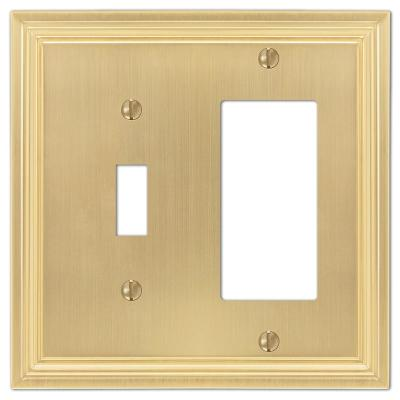 Hallcrest 2 Gang 1-Toggle and 1-Rocker Metal Wall Plate - Satin Brass
