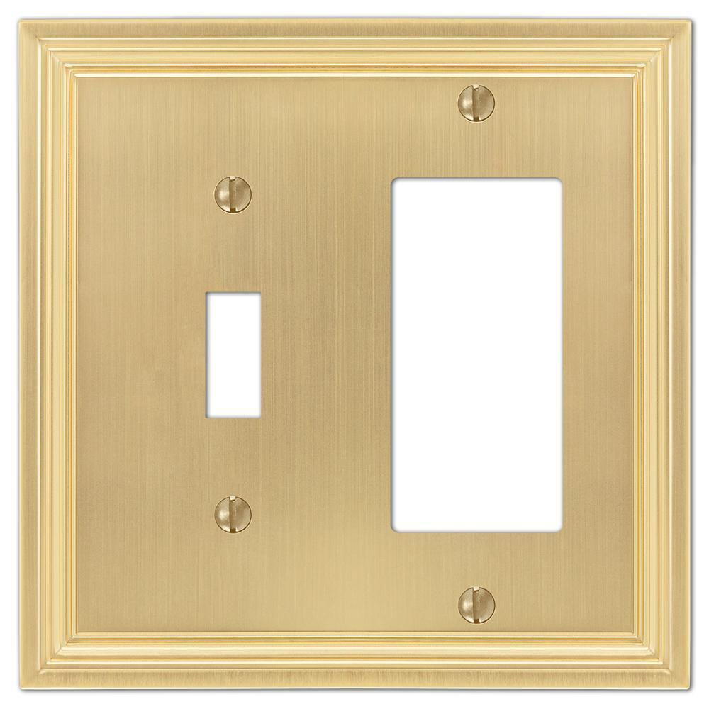 Hallcrest 2 Gang 1-Toggle and 1-Rocker Metal Wall Plate - Satin Brass