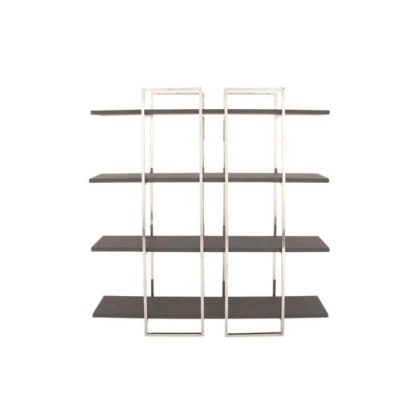 69 in. Metallic Silver/Dark Brown Metal 4-shelf Etagere Bookcase with Open Back