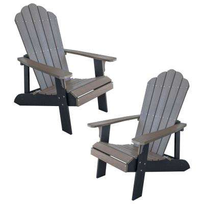 Driftwood with Black Accents 2-Tone Outdoor Adirondack Chair with Durable Faux Wood Construction (2-Piece Set)