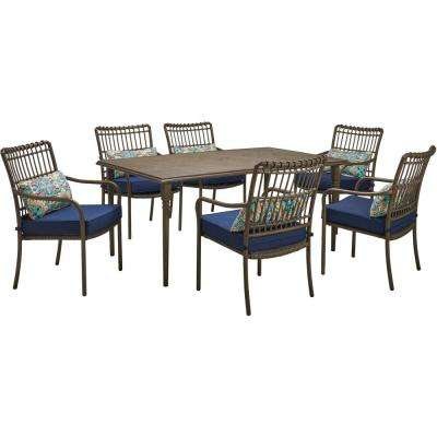 Summerland Faux-Wood 7-Piece Aluminum Outdoor Dining Set with Navy Cushions, 6 Stationary Chairs 68 in. x 40 in. Table