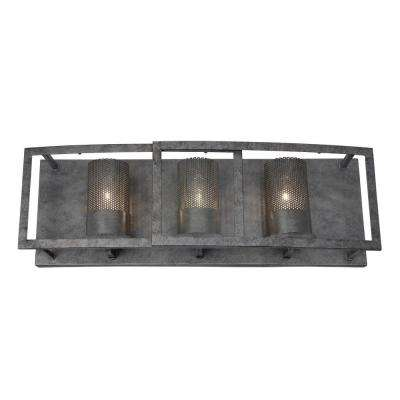 Jackson 3-Light Antique Silver Vanity Light with Arched Windowpane Glass